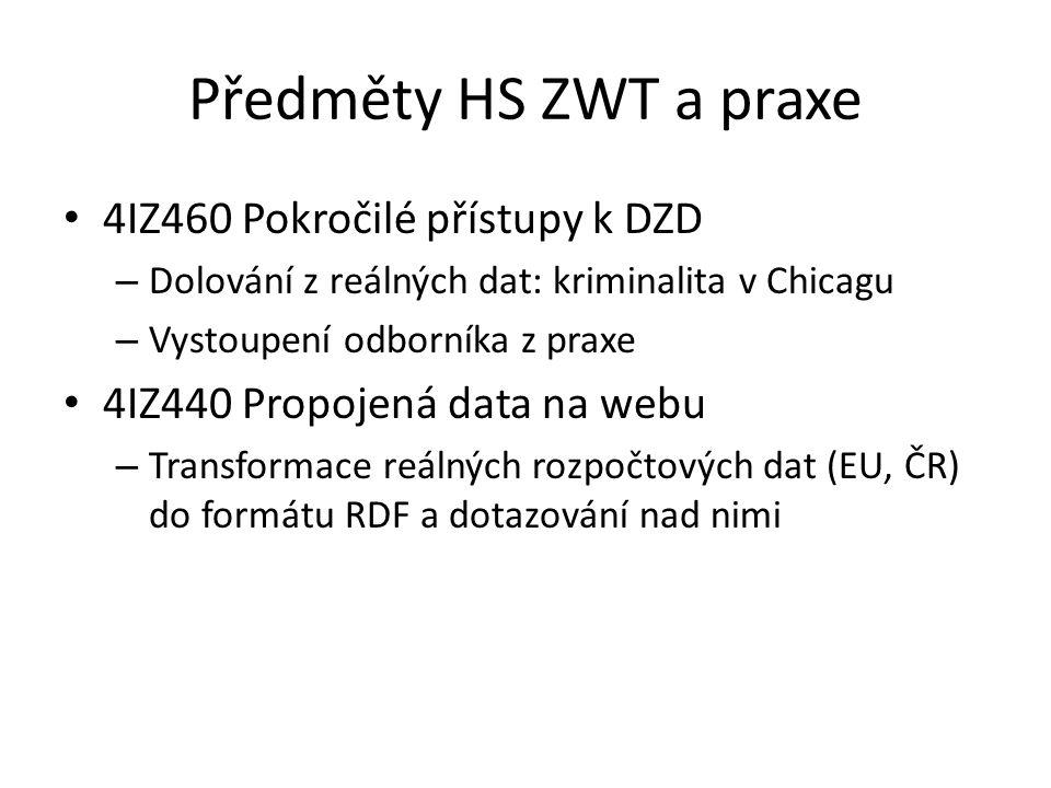 Předměty HS ZWT – novinky 2016 4IZ460 Pokročilé přístupy k DZD – Nová verze webových stránek pro seznámení se systémem LISp-Miner, včetně ukázkového postupu 4IZ470 Dolování znalostí z webu – Lingvistické zpracování textů jako detektivní hra – Phrase Detectives 4IZ440 Propojená data na webu – Vznikne interaktivní cvičebnice jazyka SPARQL (projekt IRS) – Předběžně dále: Vyzkoušení nových technologií: Linked Data Fragments Vystoupení odborníka z praxe – reálný případ transformace českých veřejnosprávních dat do RDF (např.