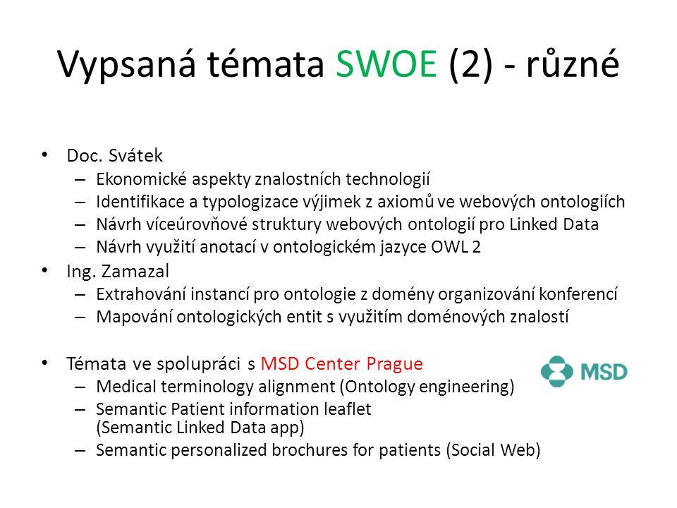 Vypsaná témata SWOE (2) - různé Doc. Svátek – Ekonomické aspekty znalostních technologií – Identifikace a typologizace výjimek z axiomů ve webových on