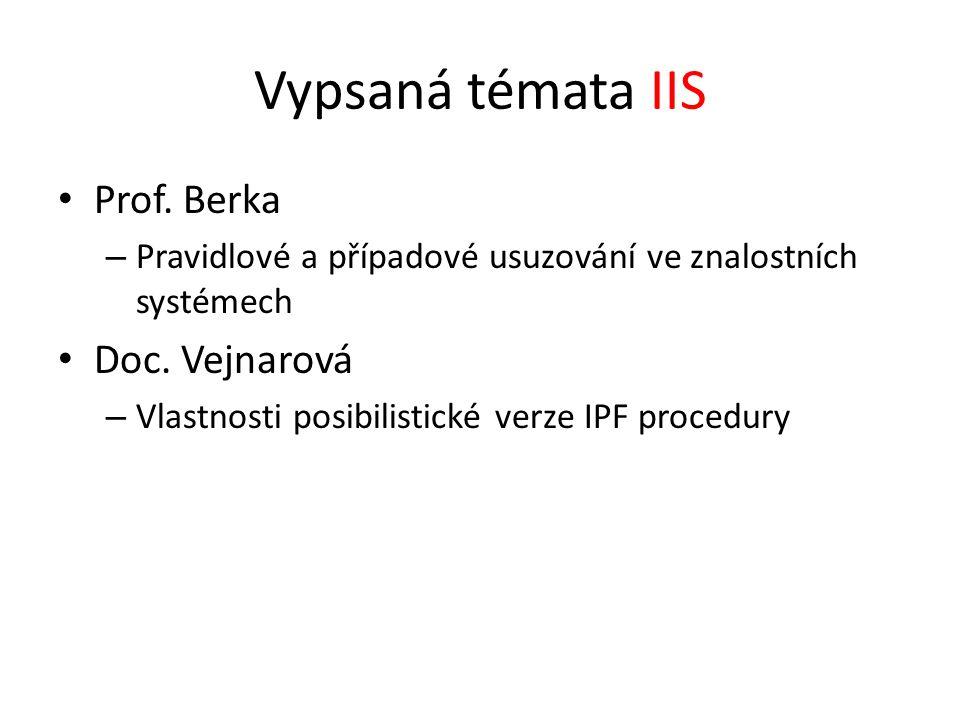 Vypsaná témata IIS Prof. Berka – Pravidlové a případové usuzování ve znalostních systémech Doc. Vejnarová – Vlastnosti posibilistické verze IPF proced