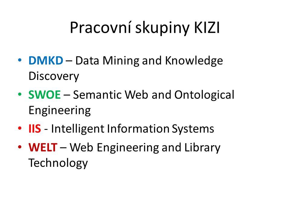 Skupina DMKD Vedoucí: Rauch, Kliegr, Berka, Šimůnek Vybrané tematické směry – Datamining v praktických úlohách – Software pro datamining – Využití doménových znalostí v dataminingu – Datamining a datová kvalita – Automatizace procesu dataminingu – Datamining přes webové rozhraní – Dolování z textů, webu (např.