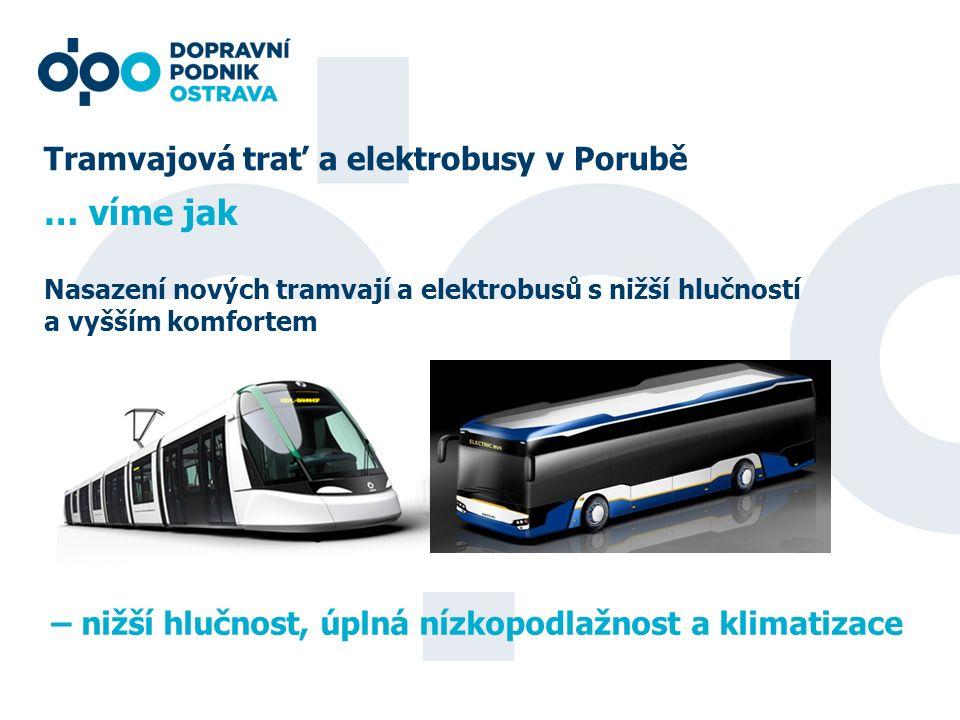 Tramvajová trať a elektrobusy v Porubě Nasazení nových tramvají a elektrobusů s nižší hlučností a vyšším komfortem … víme jak – nižší hlučnost, úplná nízkopodlažnost a klimatizace