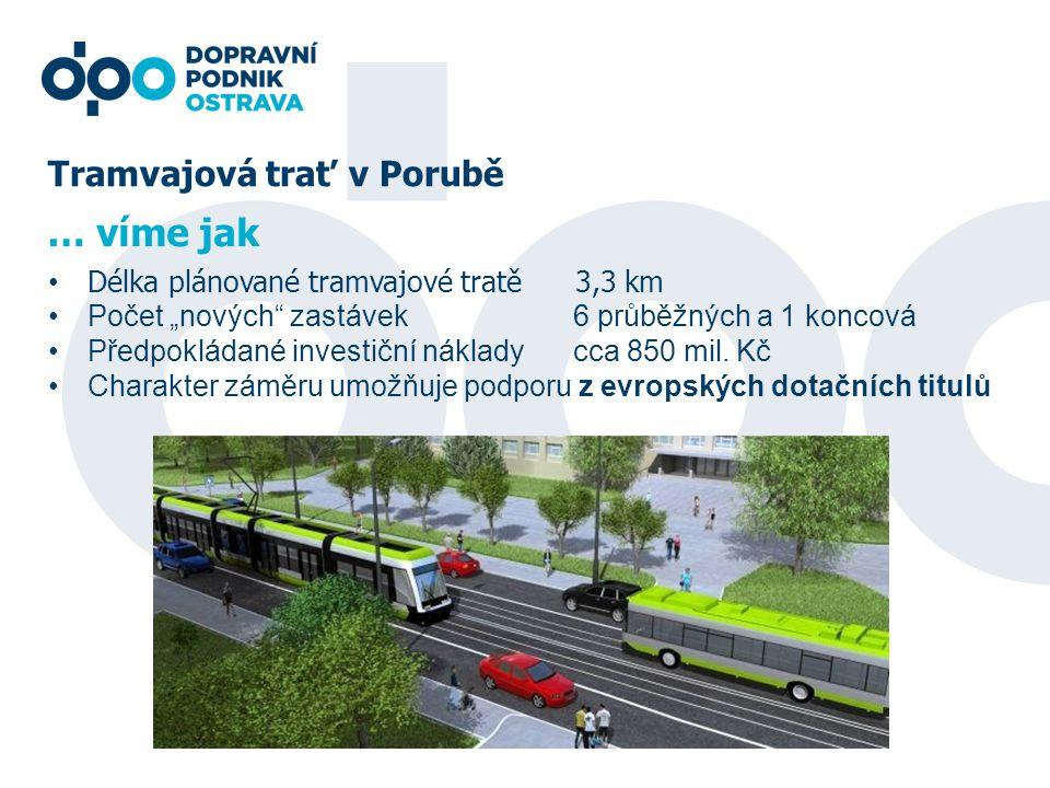 """Tramvajová trať v Porubě Délka plánované tramvajové tratě 3,3 km Počet """"nových"""" zastávek6 průběžných a 1 koncová Předpokládané investiční nákladycca 8"""