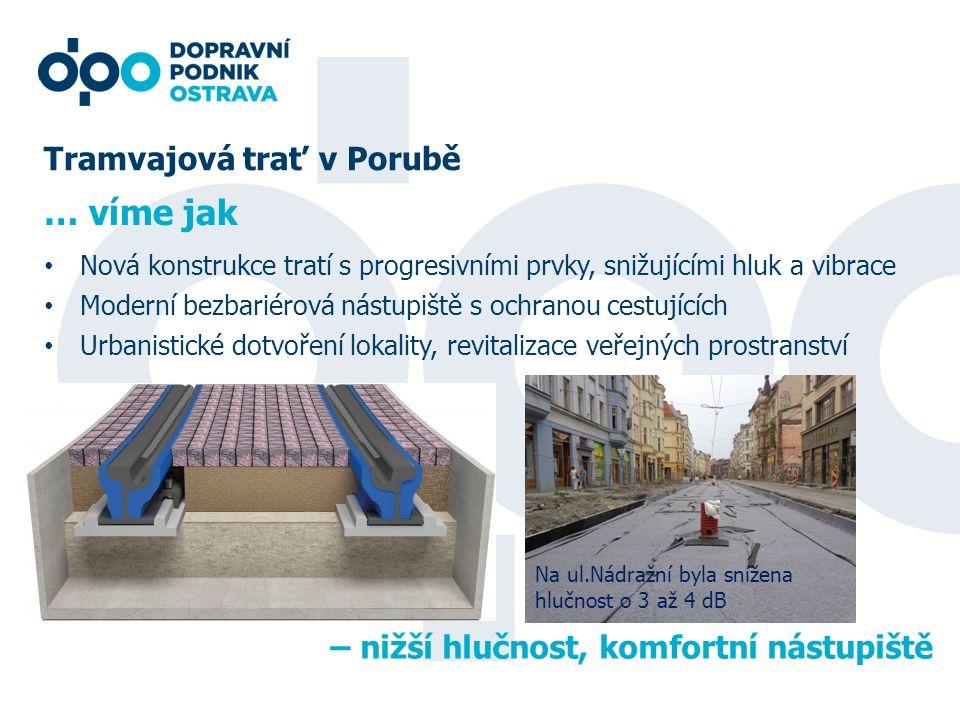 Tramvajová trať v Porubě Nová konstrukce tratí s progresivními prvky, snižujícími hluk a vibrace Moderní bezbariérová nástupiště s ochranou cestujícíc