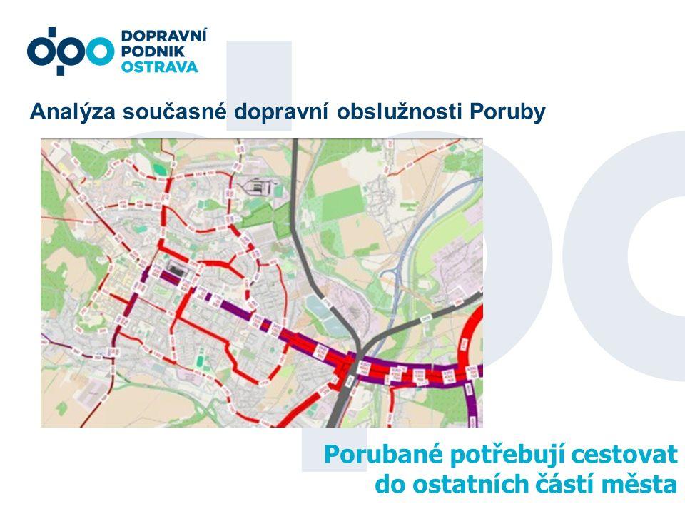 Analýza současné dopravní obslužnosti Poruby Porubané potřebují cestovat do ostatních částí města