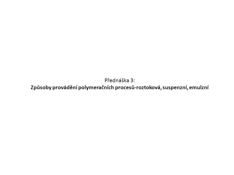 Využití suspenzní polymerace: Polystyren pro EPS PVC-důležitá je totiž velikost částic pro následné zpracování PMMA PVAc