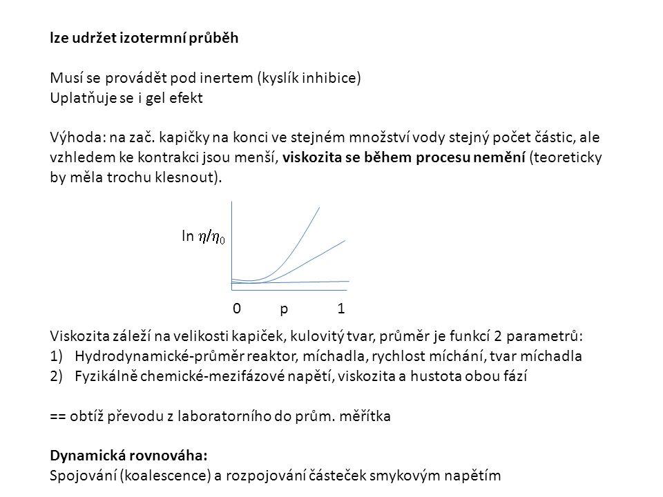 lze udržet izotermní průběh Musí se provádět pod inertem (kyslík inhibice) Uplatňuje se i gel efekt Výhoda: na zač.