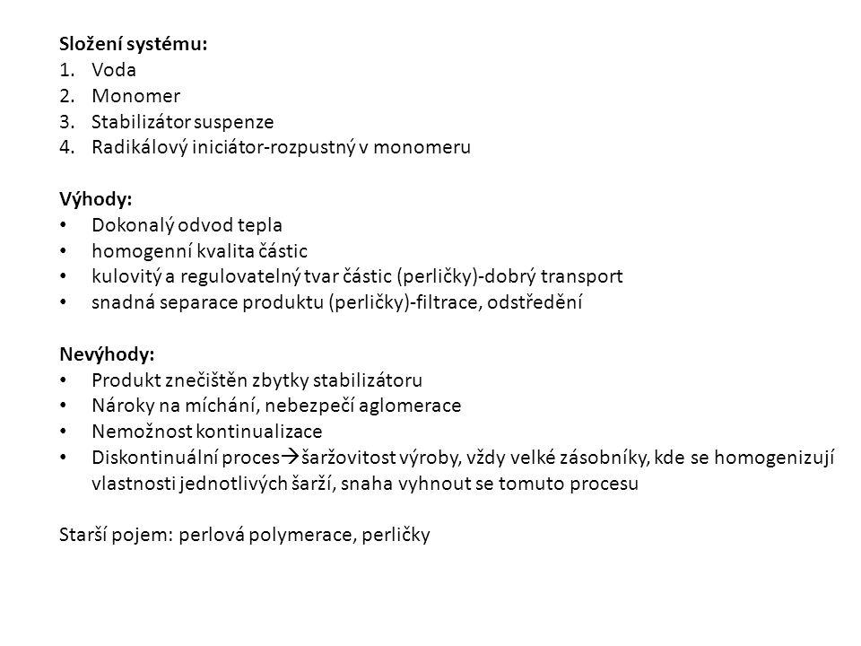 Složení systému: 1.Voda 2.Monomer 3.Stabilizátor suspenze 4.Radikálový iniciátor-rozpustný v monomeru Výhody: Dokonalý odvod tepla homogenní kvalita č