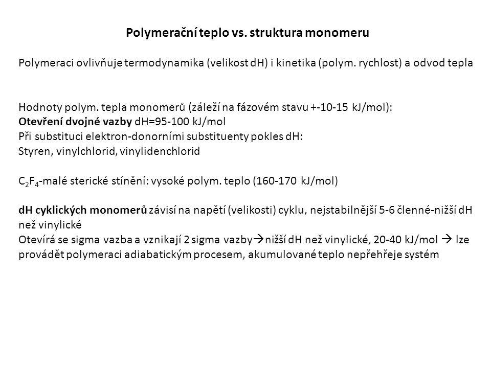 Vícefázové systémy-heterofázové polymerace: Suspenzní polymerace Emulzní polymerace Inverzní emulzní polymerace Srážecí polymerace (z bulk i roztokových polymerací) Disperzní polymerace-v pojmech koloidní chemie, tam kde je jedna kontinuální a nejméně jedna diskontinuální fáze a jedna je vždy kapalina Kapalina-plyn Kapalina-kapalina (suspenzní a emulzní polymerace) Kapalina-pevná látka Jiná definice: Disperze-produktem je systém pevná látka –kapalina