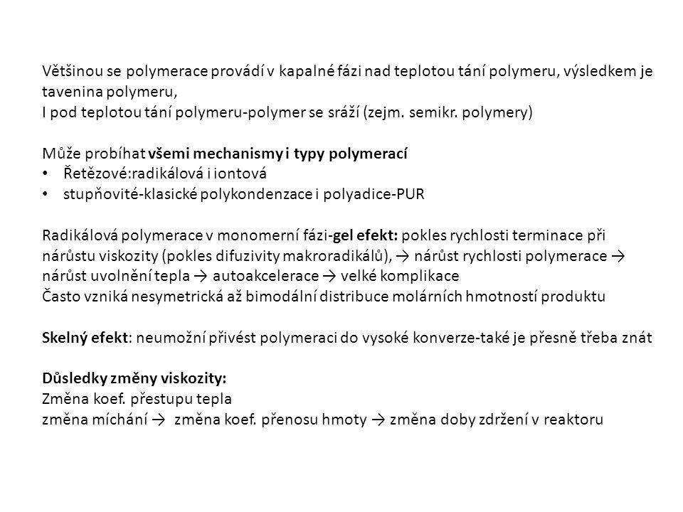 Využití emulzní polymerace: SBR, NBR PVC, PTFE PVAc