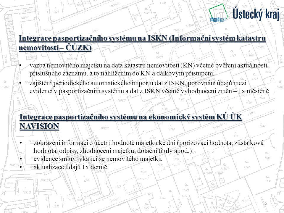 Integrace pasportizačního systému na ISKN (Informační systém katastru nemovitostí – ČÚZK) vazba nemovitého majetku na data katastru nemovitostí (KN) včetně ověření aktuálnosti příslušného záznamu, a to nahlížením do KN a dálkovým přístupem, zajištění periodického automatického importu dat z ISKN, porovnání údajů mezi evidencí v pasportizačním systému a dat z ISKN včetně vyhodnocení změn – 1x měsíčně Integrace pasportizačního systému na ekonomický systém KÚ ÚK NAVISION zobrazení informací o účetní hodnotě majetku ke dni (pořizovací hodnota, zůstatková hodnota, odpisy, zhodnocení majetku, dotační tituly apod.) evidence smluv týkající se nemovitého majetku aktualizace údajů 1x denně 5