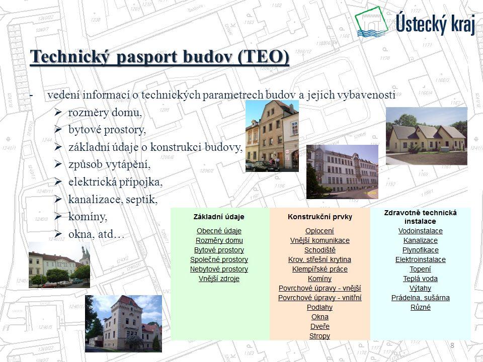Technický pasport budov (TEO) -vedení informací o technických parametrech budov a jejich vybavenosti  rozměry domu,  bytové prostory,  základní údaje o konstrukci budovy,  způsob vytápění,  elektrická přípojka,  kanalizace, septik,  komíny,  okna, atd… 8
