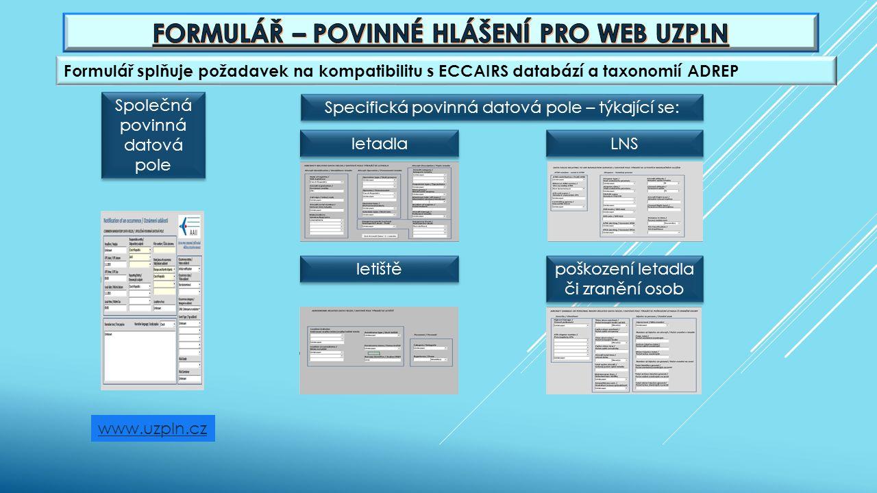 Formulář splňuje požadavek na kompatibilitu s ECCAIRS databází a taxonomií ADREP www.uzpln.cz Společná povinná datová pole Specifická povinná datová p