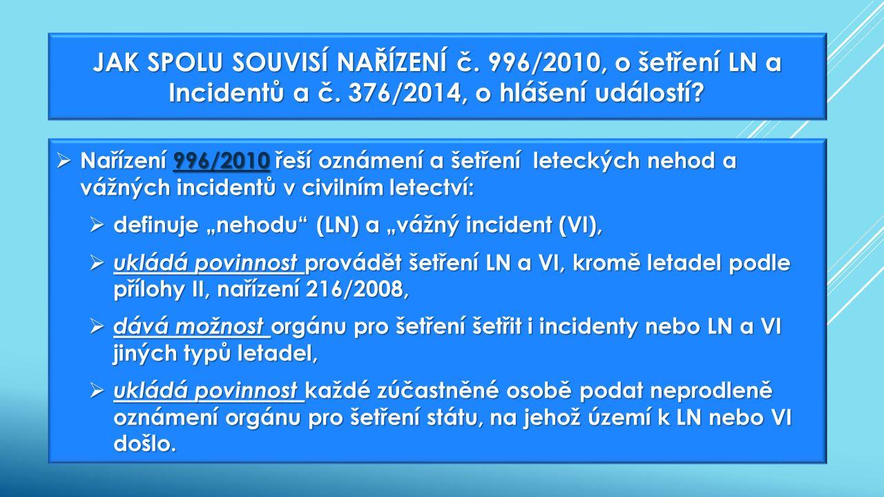 """ Nařízení 996/2010 řeší oznámení a šetření leteckých nehod a vážných incidentů v civilním letectví: 996/2010  definuje """"nehodu (LN) a """"vážný incident (VI),  ukládá povinnost provádět šetření LN a VI, kromě letadel podle přílohy II, nařízení 216/2008,  dává možnost orgánu pro šetření šetřit i incidenty nebo LN a VI jiných typů letadel,  ukládá povinnost každé zúčastněné osobě podat neprodleně oznámení orgánu pro šetření státu, na jehož území k LN nebo VI došlo."""