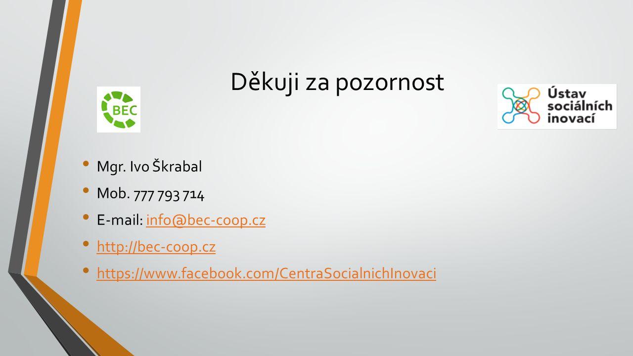 Děkuji za pozornost Mgr. Ivo Škrabal Mob. 777 793 714 E-mail: info@bec-coop.czinfo@bec-coop.cz http://bec-coop.cz https://www.facebook.com/CentraSocia