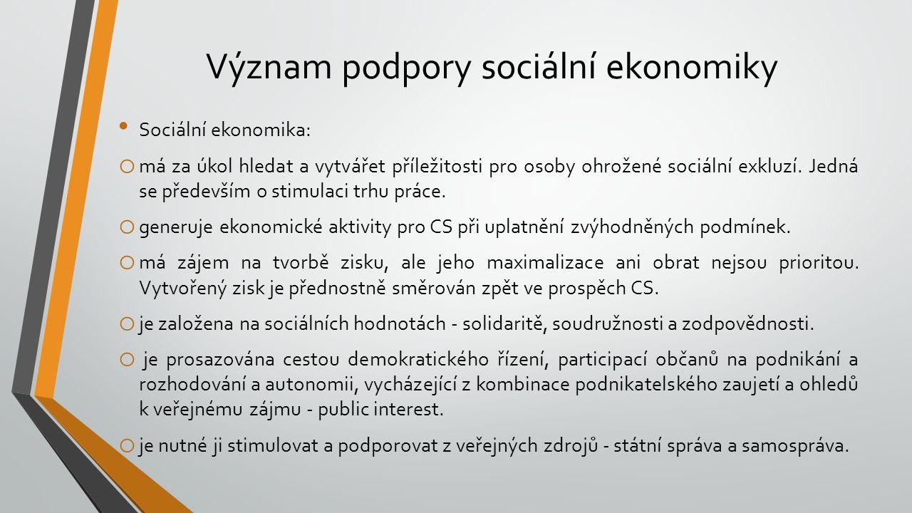 Význam podpory sociální ekonomiky Sociální ekonomika: o má za úkol hledat a vytvářet příležitosti pro osoby ohrožené sociální exkluzí. Jedná se předev