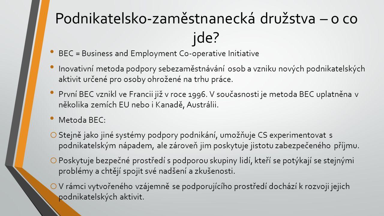Podnikatelsko-zaměstnanecká družstva – o co jde? BEC = Business and Employment Co-operative Initiative Inovativní metoda podpory sebezaměstnávání osob