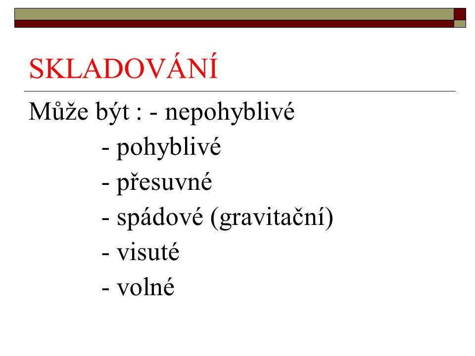 SKLADOVÁNÍ Může být : - nepohyblivé - pohyblivé - přesuvné - spádové (gravitační) - visuté - volné