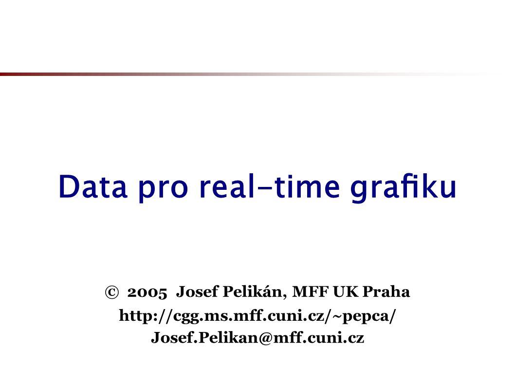 """Úroveň detailu (LoD) Optimální efektivita vykreslování: vzdálené detaily (velikostí srovnatelné s rozměrem pixelu) se už nemusí vykreslovat naopak – nejbližší předměty (na které se dívá uživatel) si zasluhují co možná nejlepší vizuální kvalitu dynamická úroveň detailu (""""dynamic Level of Detail ) program automaticky přizpůsobuje jemnost dat lze implementovat globální dolaďování (např."""