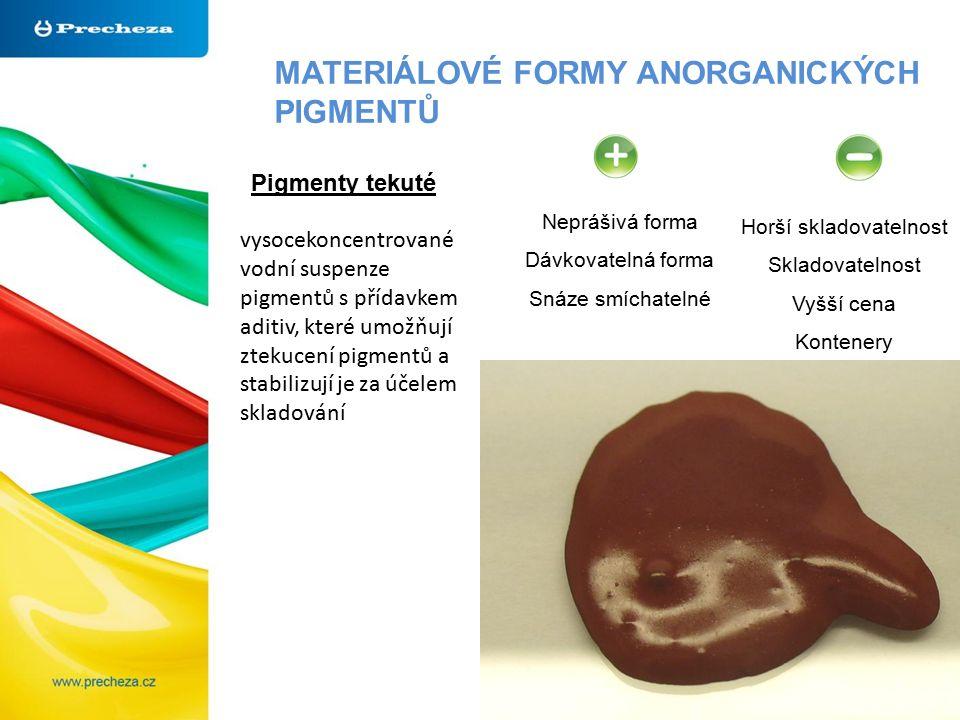 MATERIÁLOVÉ FORMY ANORGANICKÝCH PIGMENTŮ Pigmenty tekuté Neprášivá forma Dávkovatelná forma Snáze smíchatelné Horší skladovatelnost Skladovatelnost Vyšší cena Kontenery vysocekoncentrované vodní suspenze pigmentů s přídavkem aditiv, které umožňují ztekucení pigmentů a stabilizují je za účelem skladování
