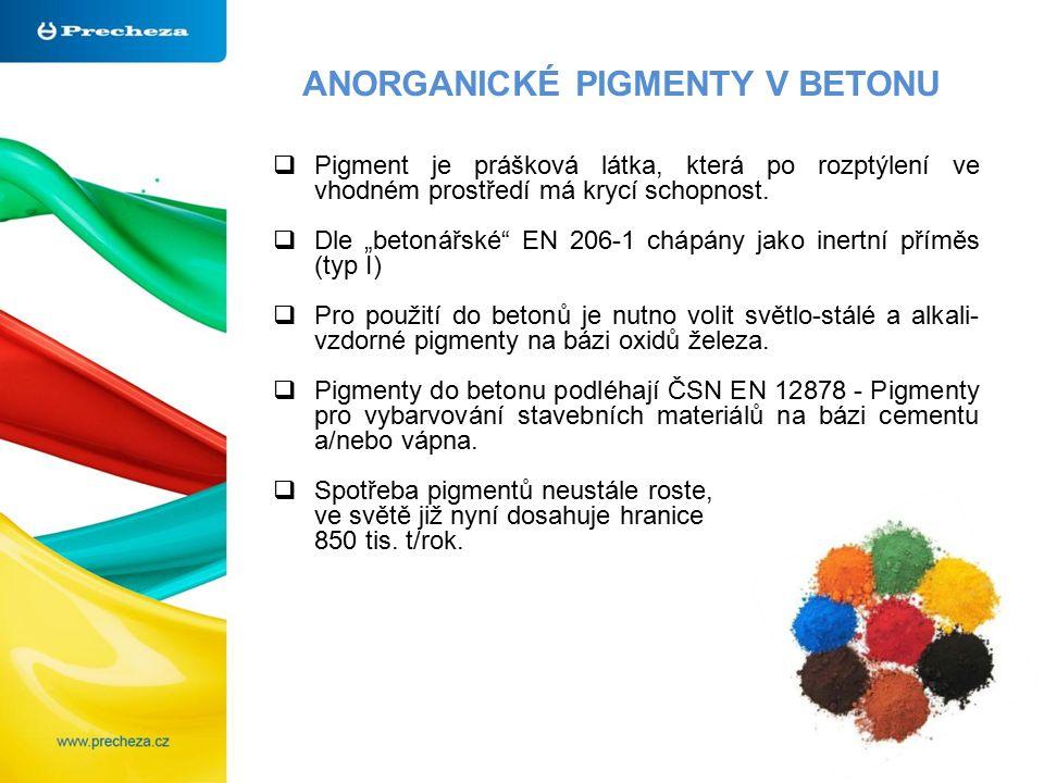 """ANORGANICKÉ PIGMENTY V BETONU  Pigment je prášková látka, která po rozptýlení ve vhodném prostředí má krycí schopnost.  Dle """"betonářské"""" EN 206-1 ch"""