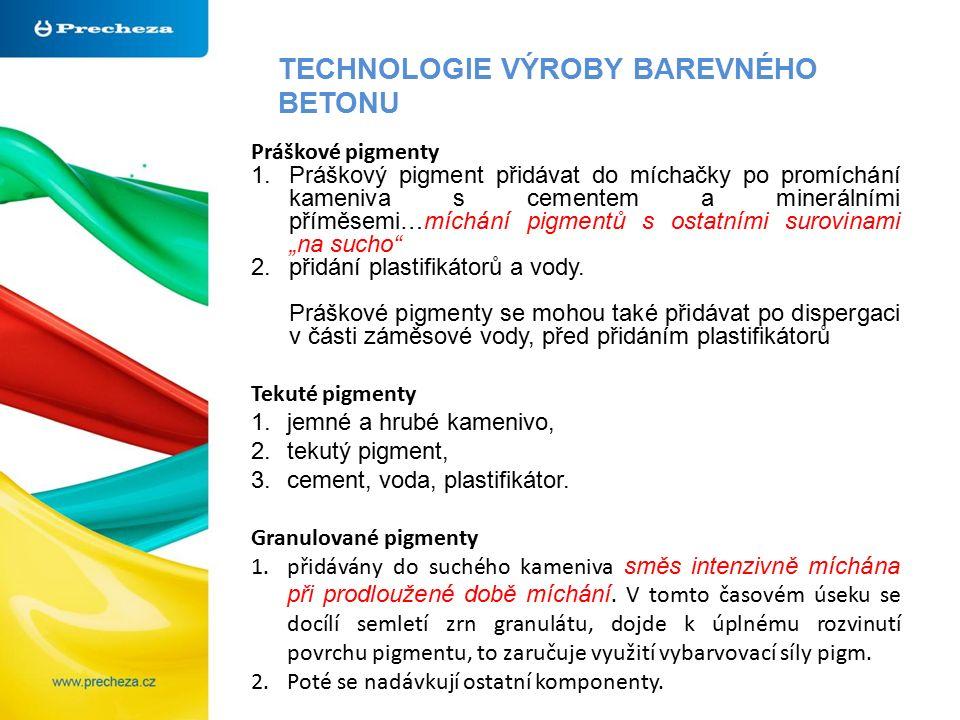TECHNOLOGIE VÝROBY BAREVNÉHO BETONU Práškové pigmenty 1.Práškový pigment přidávat do míchačky po promíchání kameniva s cementem a minerálními příměsem