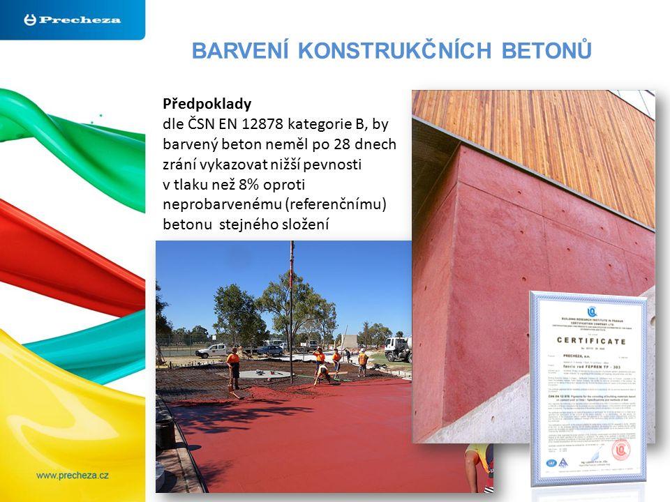BARVENÍ KONSTRUKČNÍCH BETONŮ Předpoklady dle ČSN EN 12878 kategorie B, by barvený beton neměl po 28 dnech zrání vykazovat nižší pevnosti v tlaku než 8% oproti neprobarvenému (referenčnímu) betonu stejného složení