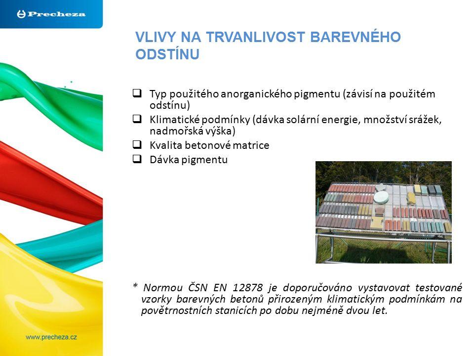 VLIVY NA TRVANLIVOST BAREVNÉHO ODSTÍNU  Typ použitého anorganického pigmentu (závisí na použitém odstínu)  Klimatické podmínky (dávka solární energie, množství srážek, nadmořská výška)  Kvalita betonové matrice  Dávka pigmentu * Normou ČSN EN 12878 je doporučováno vystavovat testované vzorky barevných betonů přirozeným klimatickým podmínkám na povětrnostních stanicích po dobu nejméně dvou let.