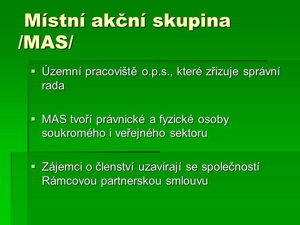 Místní akční skupina /MAS/ Místní akční skupina /MAS/  Územní pracoviště o.p.s., které zřizuje správní rada  MAS tvoří právnické a fyzické osoby soukromého i veřejného sektoru  Zájemci o členství uzavírají se společností Rámcovou partnerskou smlouvu