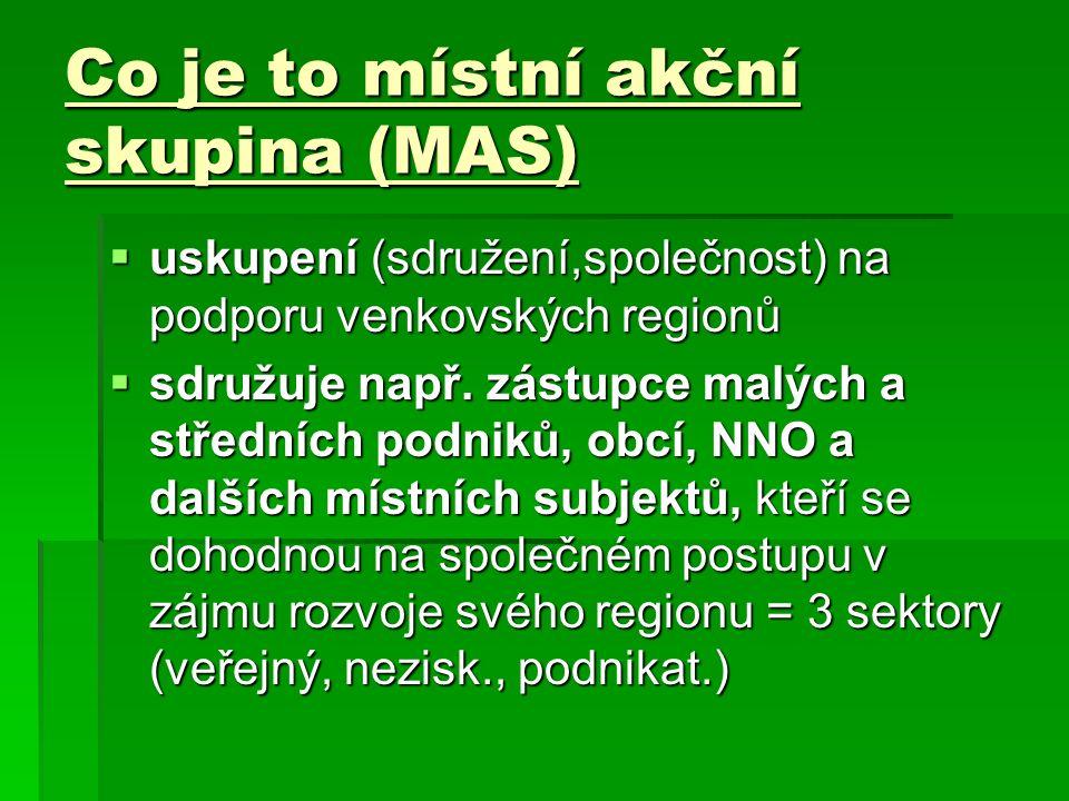 Co je to místní akční skupina (MAS)  uskupení (sdružení,společnost) na podporu venkovských regionů  sdružuje např.