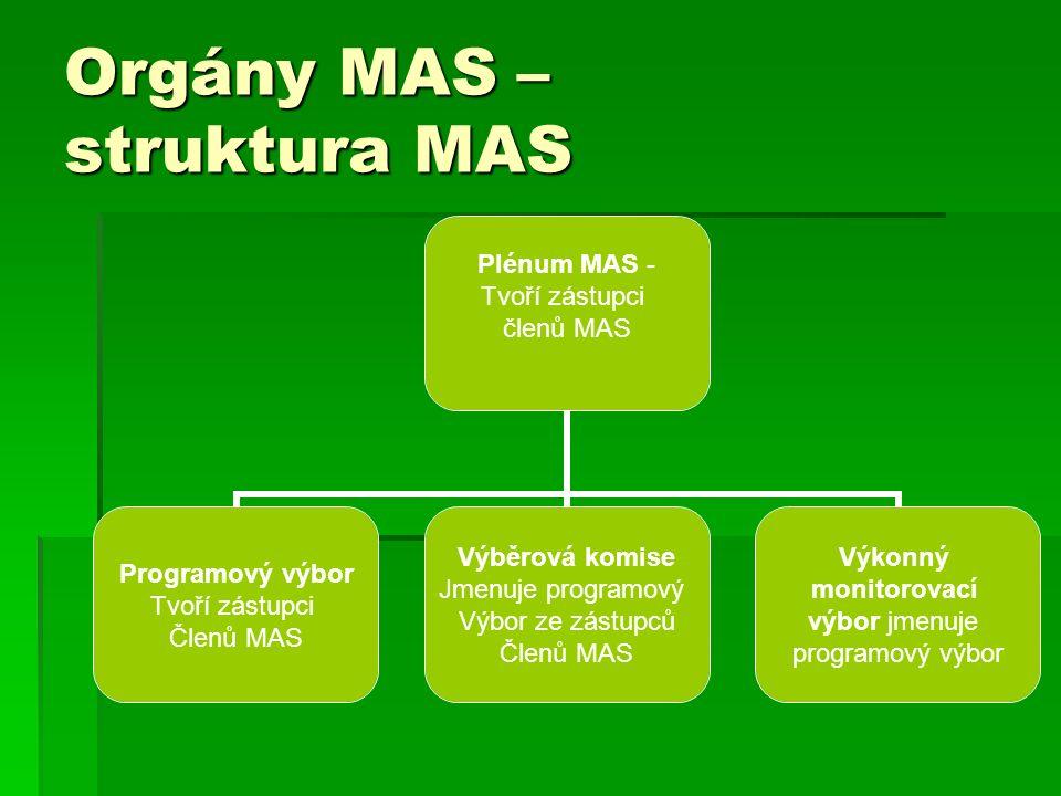 Orgány MAS – struktura MAS Plénum MAS - Tvoří zástupci členů MAS Programový výbor Tvoří zástupci Členů MAS Výběrová komise Jmenuje programový Výbor ze zástupců Členů MAS Výkonný monitorovací výbor jmenuje programový výbor