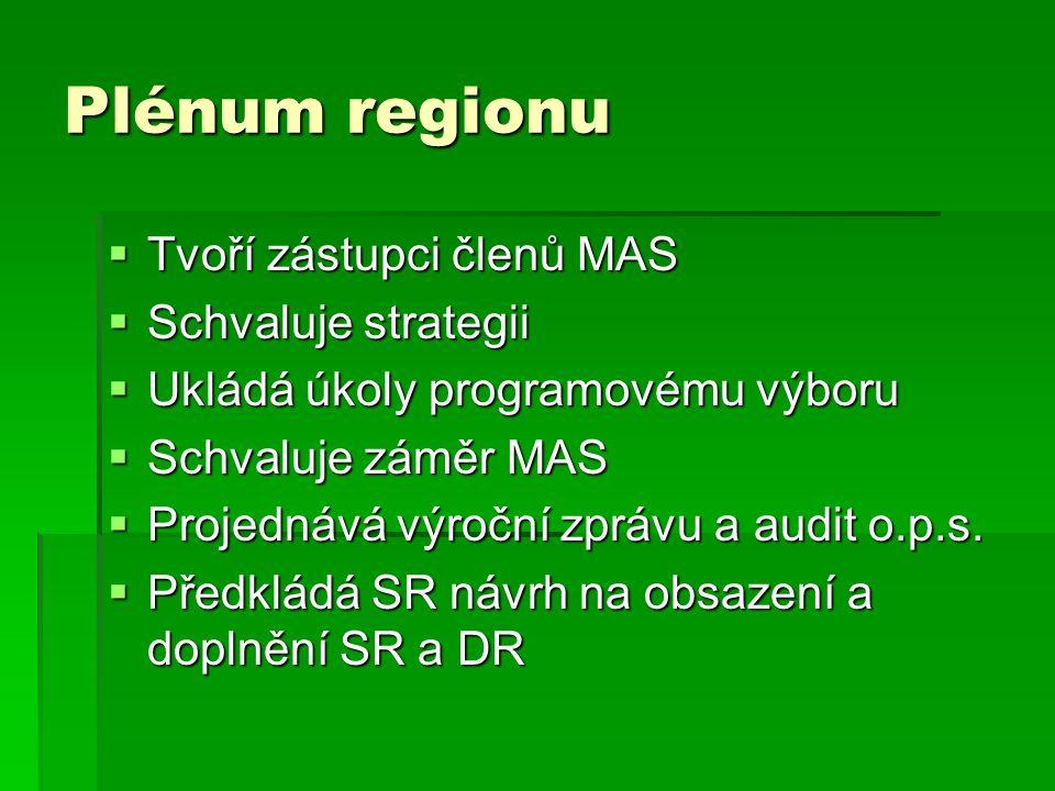 Plénum regionu  Tvoří zástupci členů MAS  Schvaluje strategii  Ukládá úkoly programovému výboru  Schvaluje záměr MAS  Projednává výroční zprávu a audit o.p.s.