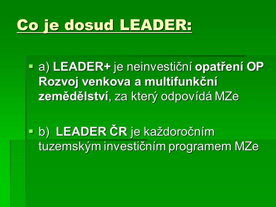 Co je dosud LEADER:  a) LEADER+ je neinvestiční opatření OP Rozvoj venkova a multifunkční zemědělství, za který odpovídá MZe  b)LEADER ČR je každoročním tuzemským investičním programem MZe