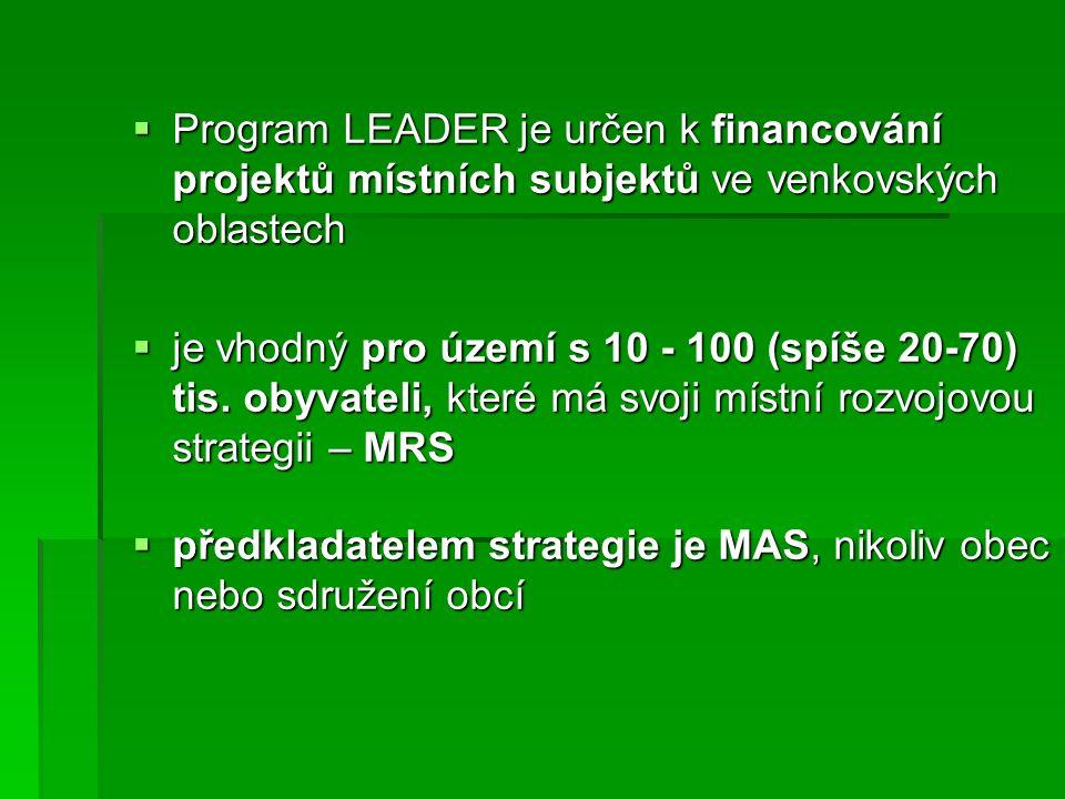  Program LEADER je určen k financování projektů místních subjektů ve venkovských oblastech  je vhodný pro území s 10 - 100 (spíše 20-70) tis.