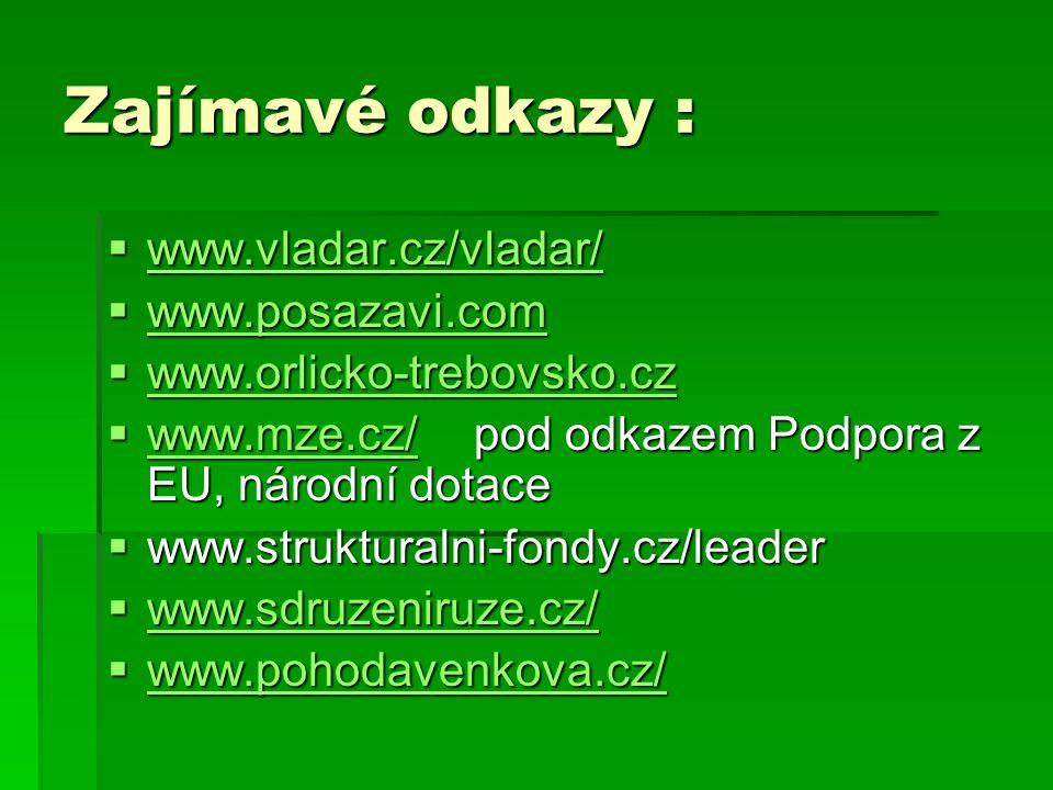 Zajímavé odkazy :  www.vladar.cz/vladar/ www.vladar.cz/vladar/  www.posazavi.com www.posazavi.com  www.orlicko-trebovsko.cz www.orlicko-trebovsko.cz  www.mze.cz/ pod odkazem Podpora z EU, národní dotace www.mze.cz/  www.strukturalni-fondy.cz/leader  www.sdruzeniruze.cz/ www.sdruzeniruze.cz/  www.pohodavenkova.cz/ www.pohodavenkova.cz/