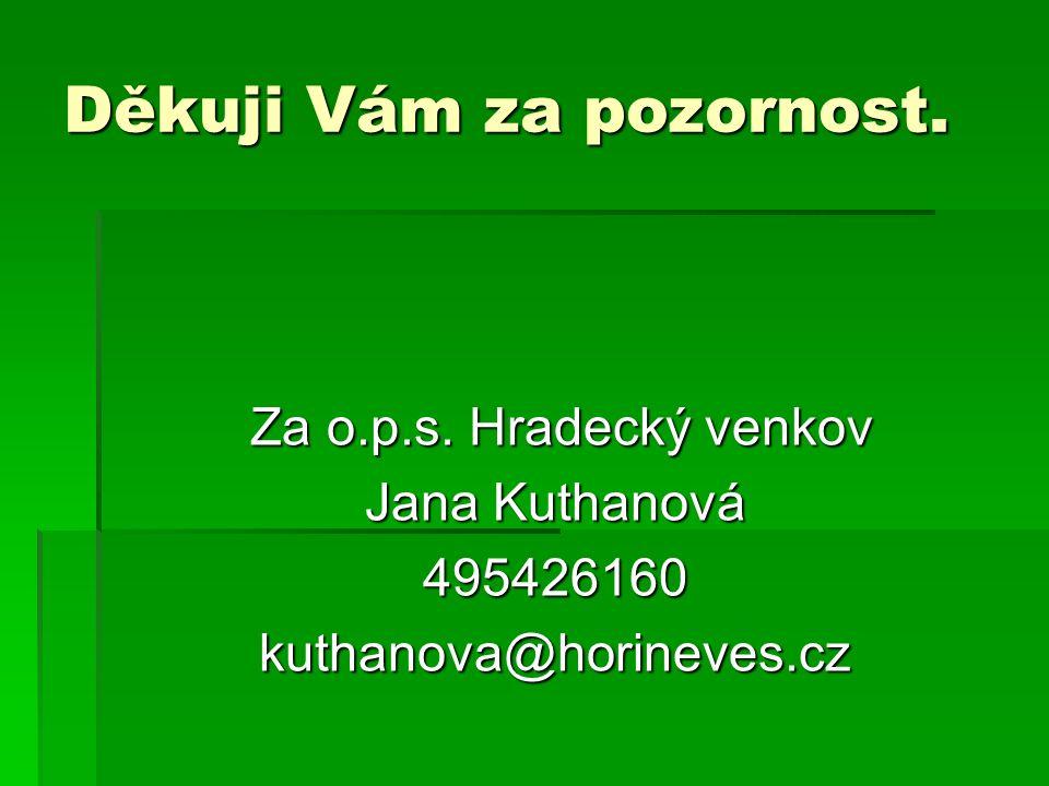 Děkuji Vám za pozornost. Za o.p.s. Hradecký venkov Za o.p.s.