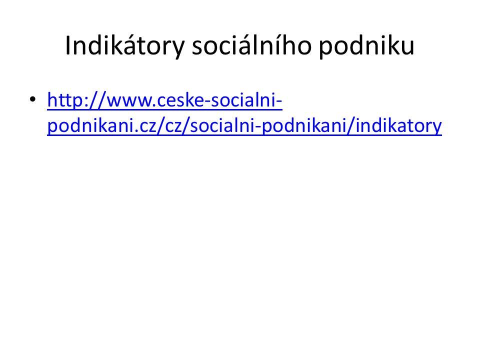 Indikátory sociálního podniku http://www.ceske-socialni- podnikani.cz/cz/socialni-podnikani/indikatory http://www.ceske-socialni- podnikani.cz/cz/soci
