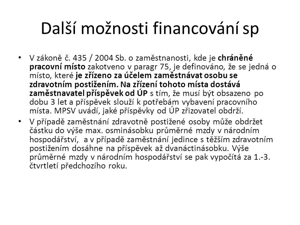 Další možnosti financování sp V zákoně č. 435 / 2004 Sb. o zaměstnanosti, kde je chráněné pracovní místo zakotveno v paragr 75, je definováno, že se j