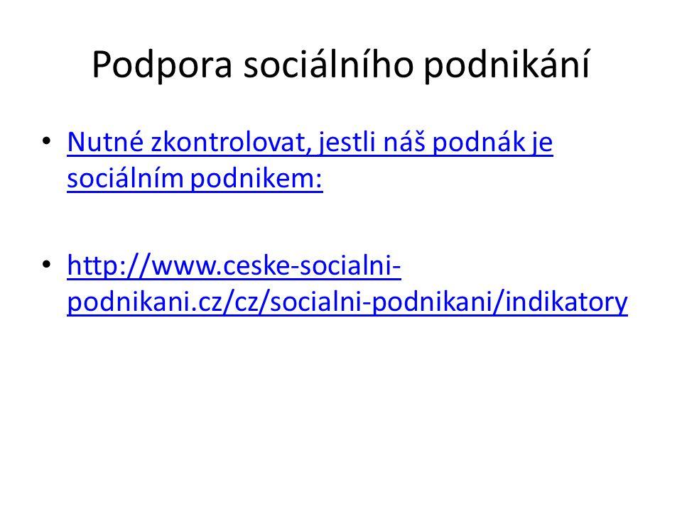 Podpora sociálního podnikání Nutné zkontrolovat, jestli náš podnák je sociálním podnikem: Nutné zkontrolovat, jestli náš podnák je sociálním podnikem: