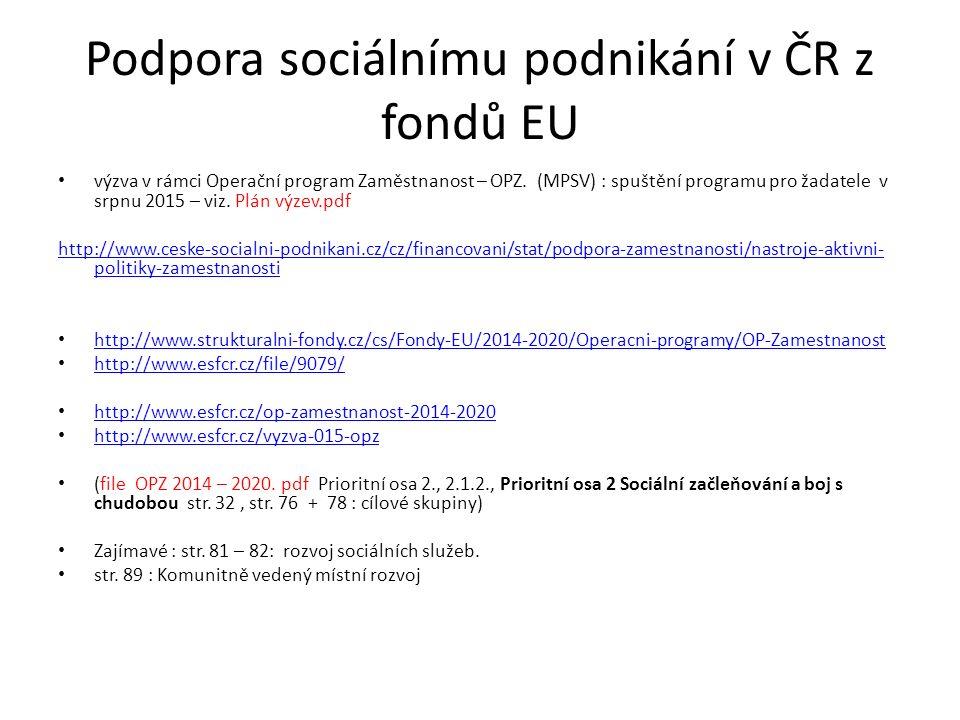 Podpora sociálnímu podnikání v ČR z fondů EU výzva v rámci Operační program Zaměstnanost – OPZ. (MPSV) : spuštění programu pro žadatele v srpnu 2015 –