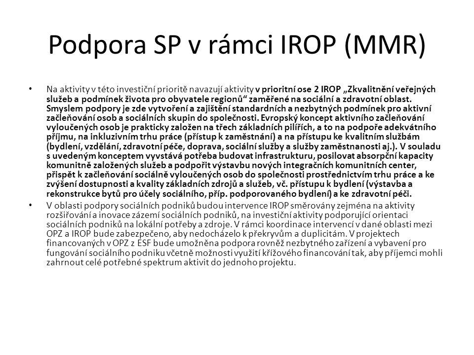 """Podpora SP v rámci IROP (MMR) Na aktivity v této investiční prioritě navazují aktivity v prioritní ose 2 IROP """"Zkvalitnění veřejných služeb a podmínek"""