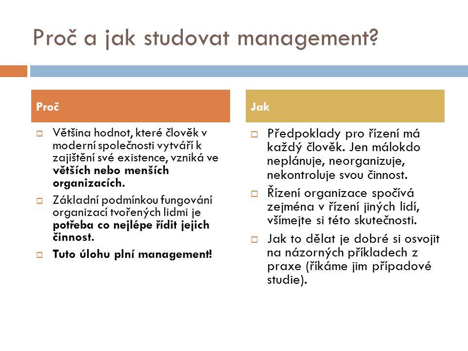 Proč a jak studovat management.
