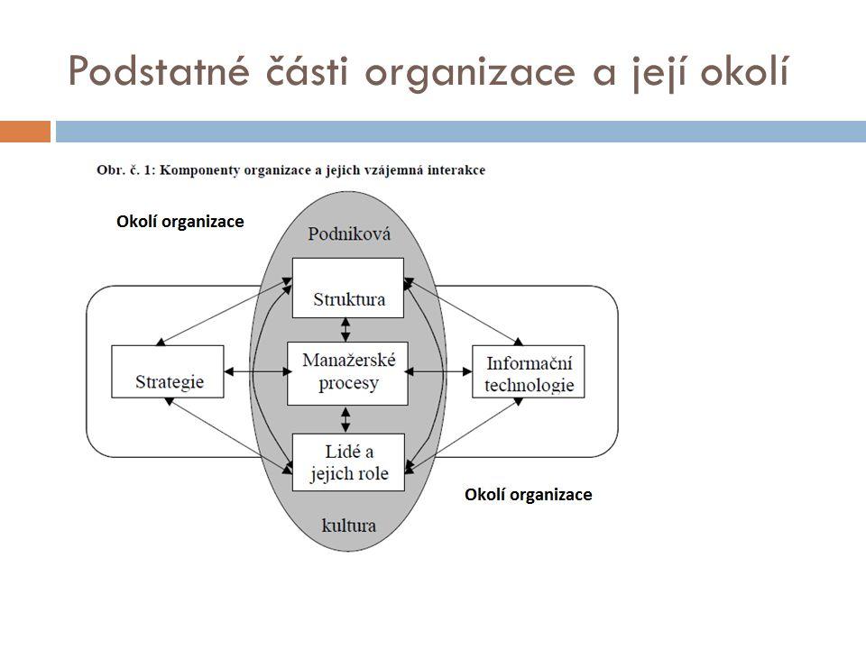 Podstatné části organizace a její okolí