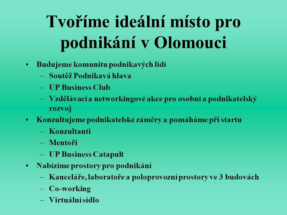 Tvoříme ideální místo pro podnikání v Olomouci Budujeme komunitu podnikavých lidí –Soutěž Podnikavá hlava –UP Business Club –Vzdělávací a networkingov