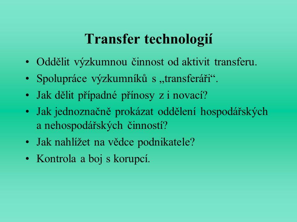 """Transfer technologií Oddělit výzkumnou činnost od aktivit transferu. Spolupráce výzkumníků s """"transferáři"""". Jak dělit případné přínosy z i novací? Jak"""