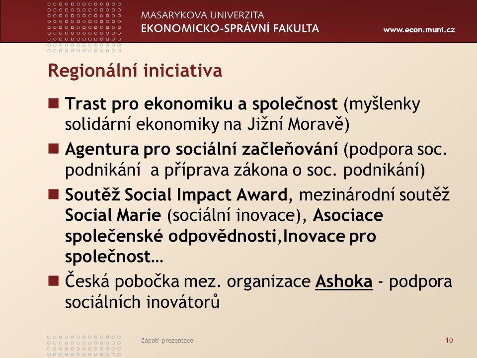 www.econ.muni.cz Regionální iniciativa Trast pro ekonomiku a společnost (myšlenky solidární ekonomiky na Jižní Moravě) Agentura pro sociální začleňování (podpora soc.