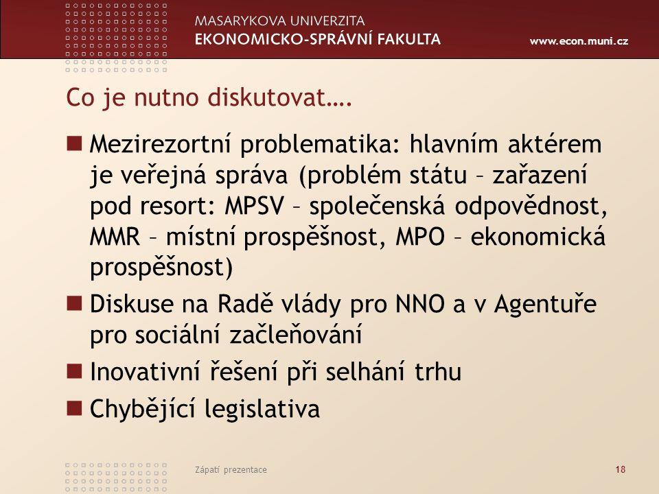 www.econ.muni.cz Co je nutno diskutovat…. Mezirezortní problematika: hlavním aktérem je veřejná správa (problém státu – zařazení pod resort: MPSV – sp