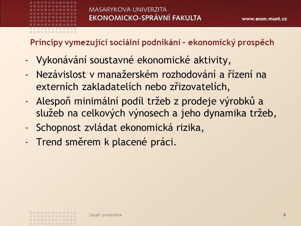 www.econ.muni.cz -Přednostní uspokojení potřeb místní komunity, -Využívání přednostně místních zdrojů, -Uspokojování přednostně místní poptávky (nepovinné) -Zohledňování environmentálních aspektů výroby i spotřeby, -Spolupráce sociálního podniku s důležitými místními aktéry, -Inovativní přístupy a řešení (není povinné) Zápatí prezentace7 Principy vymezující sociální podnikání – environmentální a místní prospěch