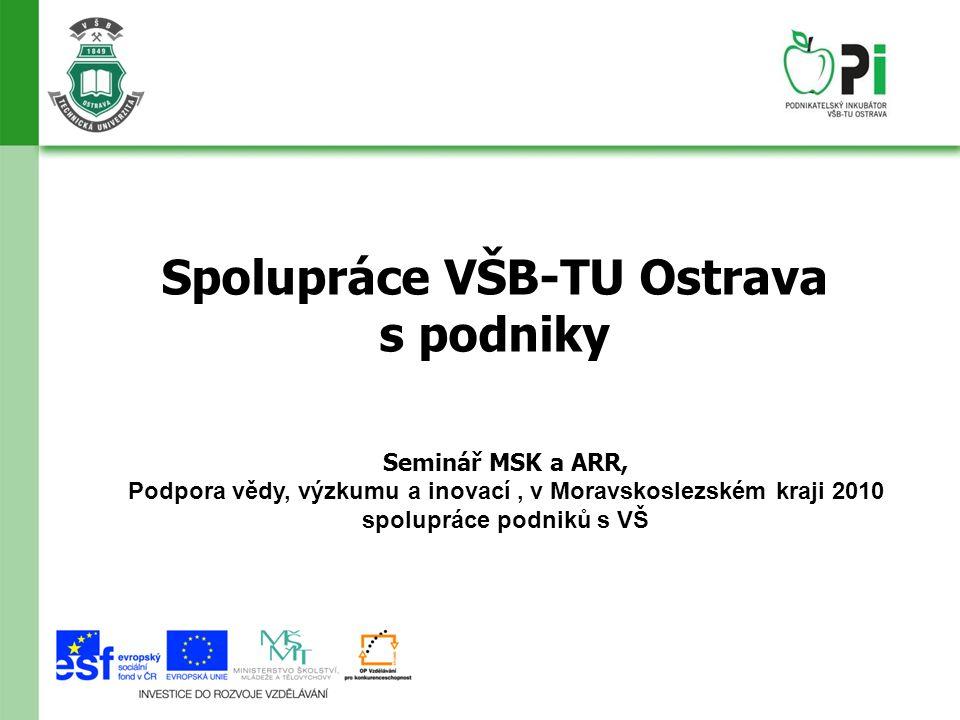 Spolupráce VŠB-TU Ostrava s podniky Seminář MSK a ARR, Podpora vědy, výzkumu a inovací, v Moravskoslezském kraji 2010 spolupráce podniků s VŠ