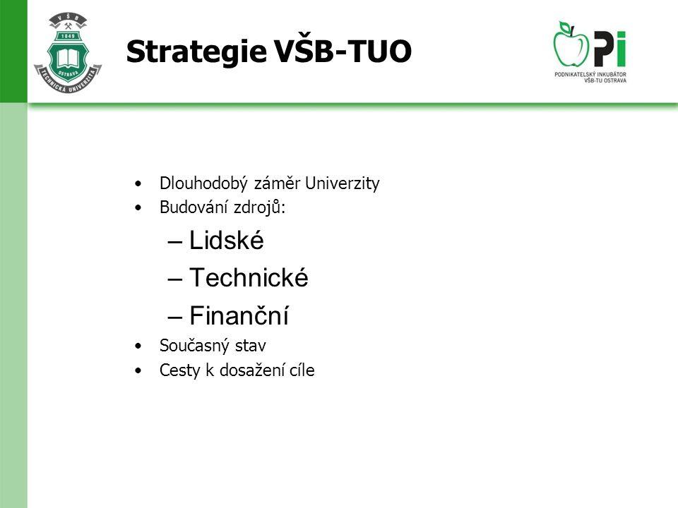 Strategie VŠB-TUO Dlouhodobý záměr Univerzity Budování zdrojů: –Lidské –Technické –Finanční Současný stav Cesty k dosažení cíle