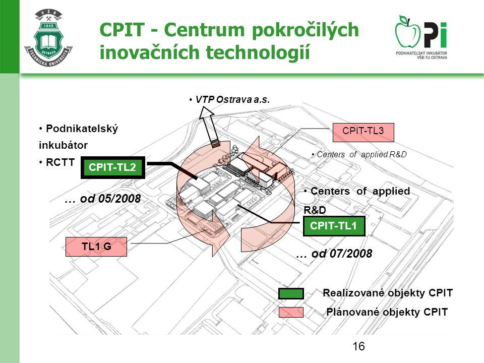 16 CPIT - Centrum pokročilých inovačních technologií Realizované objekty CPIT Plánované objekty CPIT VTP Ostrava a.s.